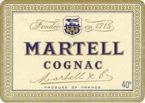 old logo of Martell with swift sitting on shield that has three mallets on it