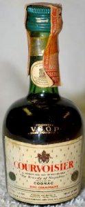 1/16 pint; screw cap; on shoulder: 'Courvoisier VSOP Brand Liquor Cognac'; on label: 'all Courvoisier cognac bears the registered phrase The Brandy of Napoleon, Reg. U.S. pat. off'; better glass quality