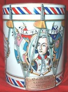 Napoleon cognac; Lafayette (and Washington on backside); Haviland Limoges. To commemorate the American Revolution (1776-1976). Front-side, 1976.