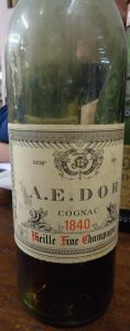 1840 fine champagne; no alcohol content stated. Different form of bottle.