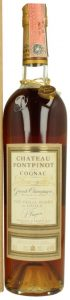 Chateau Fontpinot, grande champagne; slender bottle, with a paper duty seal on top
