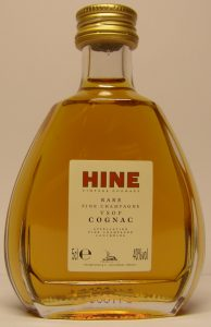 Drop shaped bottle. 5cl stated; description: Rare - Fine champagne - VSOP - Cognac