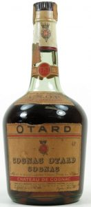 VSOP, same as previous but 'Cognac Otard Cognac is printed wider, also the 'O's are different; and with a paper duty seal (1950s)