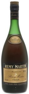 Underneath is written: 'tres rare fine champagne'; content written as 70CL and ABV as 40% (1980s)