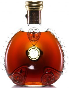 0.70L, number engraved in bottom (1 letter and four numbers); no content or abv stated; old red box with truncated prymaid lid