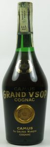 Text on glass in different order: first Camus, then GRAND VSOP, then cognac. Content not stated (1970s)