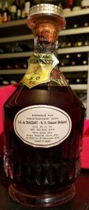 With 40% G.L. stated beneath XO; Belgium import, 70cl; 1974