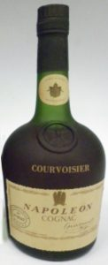 No content or ABV stated and no address line underneath. The line below the round stamp is longer: 'Courvoisier LTD 16200 France'