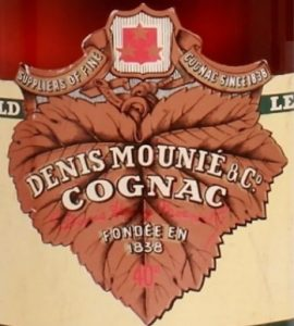 Suppliers of fine cognac cince 1838 written on a grape leaf