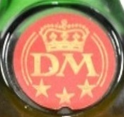 Three stars and DM under a crown; used on gold leaf bottles