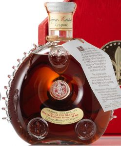 Louis XIII Brand 750ml (25.4 fl oz) Rarest Reserve 80 Proof (1970s); 9 fins on both sides; red octagonal box.