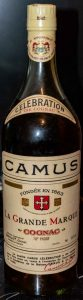 This bottle has a different shape because it is 1.14L; 'not less than 40 fl.ozs' is stated on the gold bands left and right below 'CAMUS'; click to see details; Duty free, for exportation only.