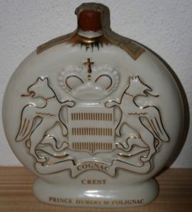 Crest in a white carafe, 1986; red wax on top with a paper duty seal