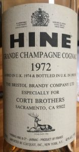 1972 grande champagne (landed 1974, bottled 1992) for Corti Brothers