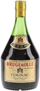 VSOP Fine champagne; content and ABV not stated; Brugerolle in red; neck label black, red and gold
