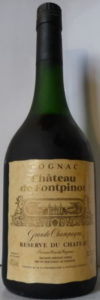 Cognac printed above Chateau de Fontpinot; Frapin stated in address line; plain black capsule; 70cl and 40%vol stated (1980s)