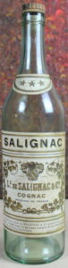 Empty bottle with cognac of France stated and name spelled as L.s de Salignac (est. 1930s)