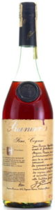 On top it says 'Prunier's'; Reserve de la Famille Prunier, Fine Cognac; 70cl stated on the lower left (very vaguely) and 40%vol on the right