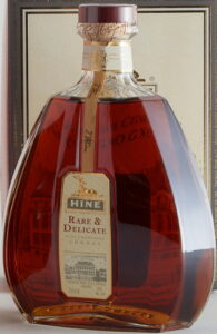 Under the picture of the house: 'Thomas Hine & Co. Jarnac, France' and then 750ml, 40%alc/vol stated (US import)