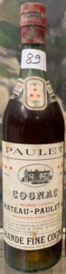 Grande fine cognac, three stars; J. Maurice Lacroux is printed above 'Chateau Paulet'