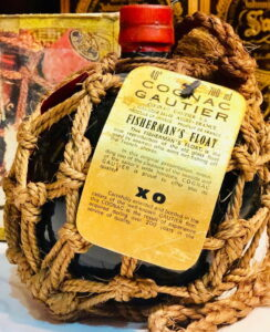 700ml Fisherman's Float XO, red stopper and ecru rope address and origin on three lines